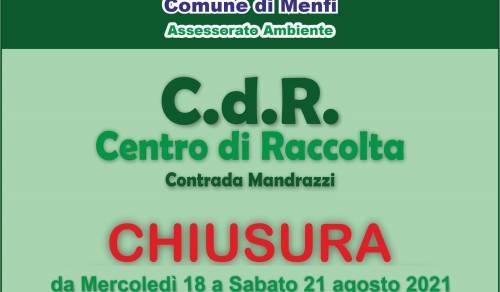 Immagine: Chiusura C.d.R.  c.da Mandrazzi da mercoledì 18 a sabato 21 Agosto 2021