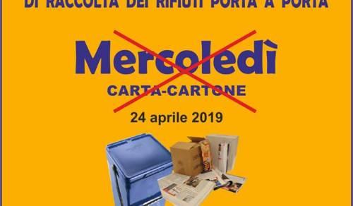 Immagine: Calendario settimanale di raccolta rifiuti porta a porta
