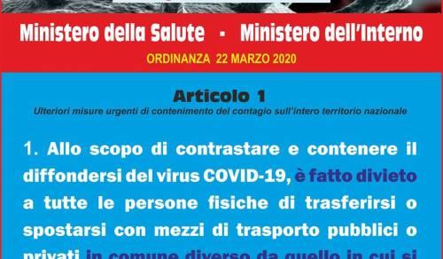 Immagine: NUOVA ORDINANZA del 22-3-2020 - MINISTERO DELLA SALUTE E MINISTERO DELL'INTERNO
