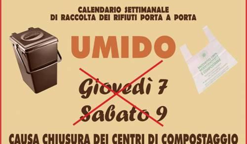 Immagine: Si avvisa la cittadinanza che giovedì 7 e sabato 8 la raccolta della frazione umida non verrà effettuata