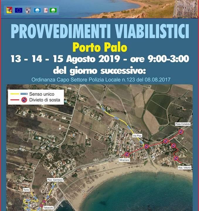 Immagine: PORTO PALO - Provvedimenti viabilistici per il 13 - 14 - e 15 Agosto.
