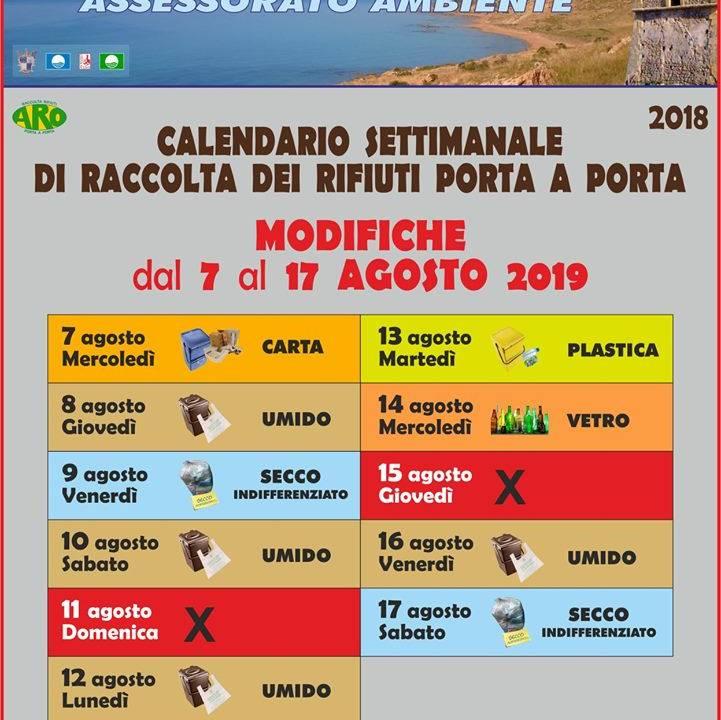 Immagine: AVVISO -  Modifiche al calendario di raccolta dal 7 al 17 agosto 2019