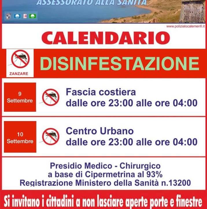 Immagine: Calendario disinfestazione fascia costiera e centro urbano
