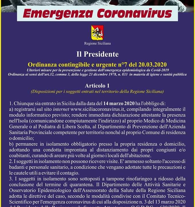 Immagine: Nuova Ordinanza del Presidente della Regione Siciliana n 7 del 20 marzo