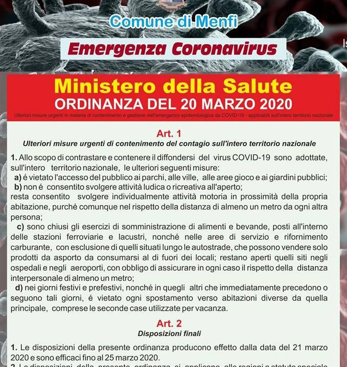 Immagine: MINISTERO DELLA SALUTE Ordinanza del 20 marzo 2020