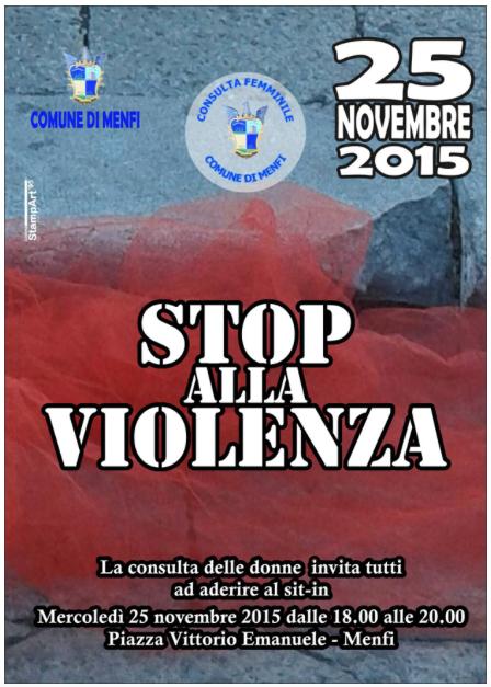 Immagine: Contro ogni violenza sulle donne. Oggi a Menfi un sit-in!