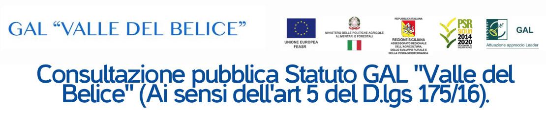 Consultazione pubblica Statuto GAL 'Valle del Belice' (Ai sensi dell'art 5 del D.lgs 175/16)