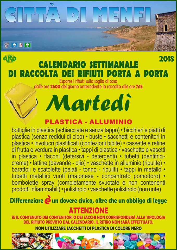Calendario Rifiuti.Welcome To Menfi Citta Del Mare Pulito